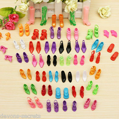 10, 20 or 50 PAIRS Barbie doll clothes mermaid dress shoes high heels assorted