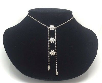 14K White Gold Handcrafted Double Lariat Drop Necklace With 3 Diamond Flowers At