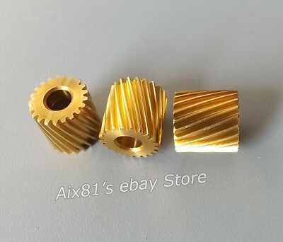 3pcs 0.5 Modulus Copper Motor Gear Left Rotary Helical Gear 4.98mm Hole 21 teeth