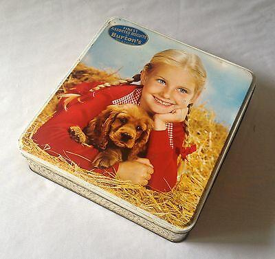 Vintage C1960's Burton's Biscuit Tin - Girl With Her Puppy - Blackpool England