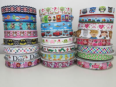 🎀 Printed Grosgrain Ribbon Dummy Hair Clips Cake Craft Hair Bow 1 Meter 22/25mm