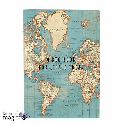 Sass & Belle Big Book Little Ideas Vintage Map A5 Notebook Note Pad Diary Gift