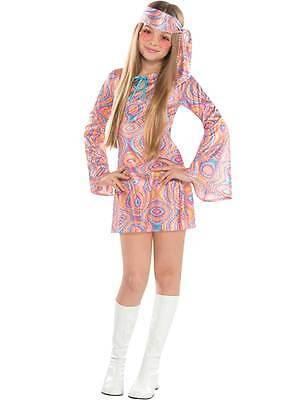 Girls Teen 60 70 Disco Chick Fancy Dress Costume Disco Diva Hippy Kids Ages 6-16
