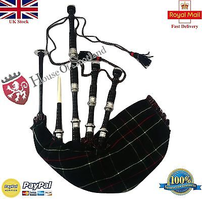Great Highland Bagpipe Black Silver /Highland Bagpipe Rosewood Black Free Chante