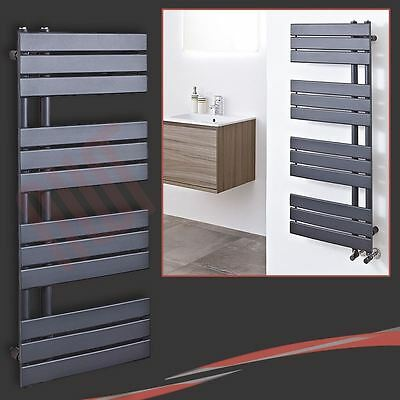 "500mm(w) x 1200mm(h) ""Apollo"" Anthracite Heated Towel Rail Radiator 3323 BTUs"
