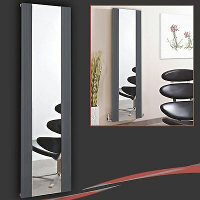 "465mm(w) x 1700mm(h) ""Newborough"" Anthracite Aluminium Mirror Radiator 4556 BTUs"