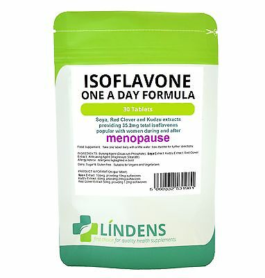 ISOFLAVONE 30 tab soy/soya+red clover Safe Natural HRT MENOPAUSE SYMPTOMS RELIEF