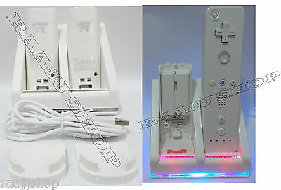 Dual Charger Docking Station Charging Stand +2X Free Batteries For Wii Remote