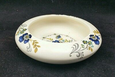 Purbeck ceramic pottery posy bowl dish 11cm across with blue floral design