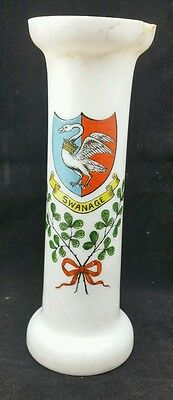 "Large 7 1/4"" Tall Bulb Vase with Swanage Crest."