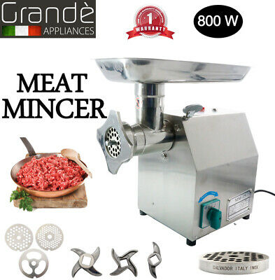 Commercial Meat Mincer Sausage Filler Top Grinder Stainless Steel Electric 800w