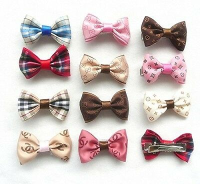 12 pcs/lot Pet Dog Bow Tie Hair Clip Hairpin Random Color Cat Hair Accessories