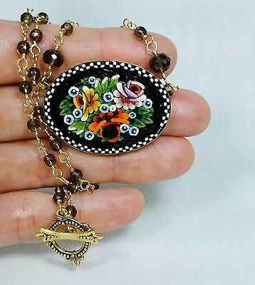 Antique Flower Micro Mosaic Pendant Necklace with Smoky Quartz, Stamped Italy