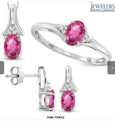 2.5 Ctw Pink Topaz & Diamond Ring, Earrings, & Pendant Set In 925 Solid Silver