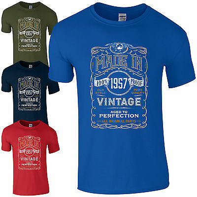 Made in 1957 T-Shirt Born 60th Year Birthday Age Present Vintage Funny Mens Gift