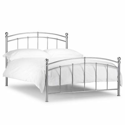 Chatsworth Silver Finish Traditional Metal Bed with Mattress and Size Options