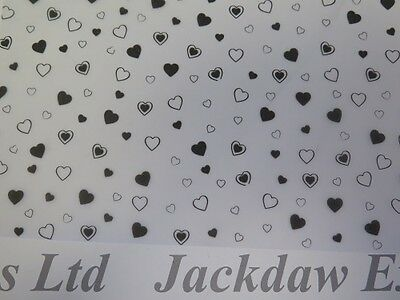 Printed Vellum Paper Black Hearts 10 x A4 110gsm Cardmaking Scrapbooking AM506