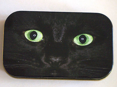 new slim 1oz hinged tobacco tin Black cat eyes