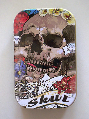 new slim 1oz hinged tobacco tin Skull head