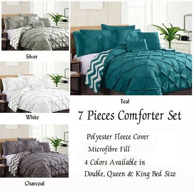 7 Pieces Pinch Pleat Ruched Comforter Set Reversible Double Queen King Bed Sizes