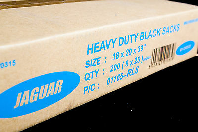 200 HEAVY DUTY Black Bin Bags Refuse Sacks Rubbish Liners UK Made EXTRA STRONG