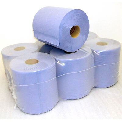 2 Ply Paper Rolls Centrefeed Embossed Towels Long Lasting 105x170Mm 6 Pack Blue