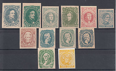 Confederate States Sc 1/14 MNG. 1861-64 issues, 12 early Facsimilie reprints