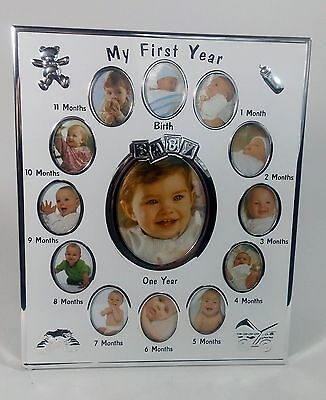 My First Year Baby Photo Frame, 13 Pictures, White and Chrome, Baby Shower Gift