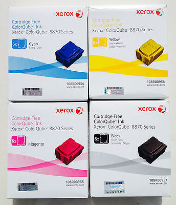 Genuine Xerox Phaser 8870 8880 Solid Ink 6 Pack Set of 4 (CMYK) 108R00954/5/6/7