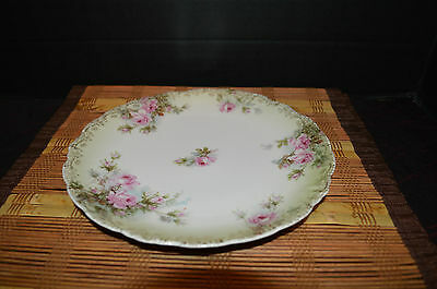 """Antique J&C Malmaison Germany hand painted pink roses Gold Trim plate 8 1/2"""""""