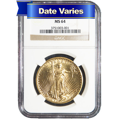 1907 to 1927 $20 St. Gaudens Gold Double Eagle NGC MS64 Random Year
