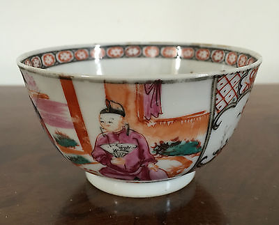 Antique Chinese Export Porcelain Tea Cup Bowl Famille Rose Figures 18th century