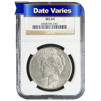 1922 to 1935 $1 Silver Peace Dollar NGC MS64 Random Year