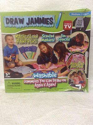 Draw Jammies Boys Blue Set Of Pajamas Sm Med & Lg Paint Pens Markers Stencils