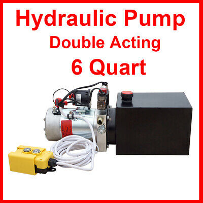 12V DC 6 Quart Double-Acting Hydraulic Pump-Dump Trailer 3200 PSI Max for Crane