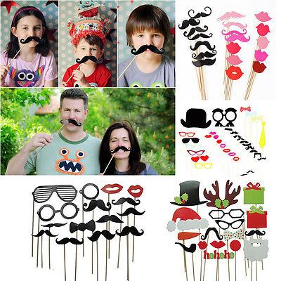 DIY Photo Mustache Booth Props Hat Lip Glasses For Funny Wedding Birthday Party