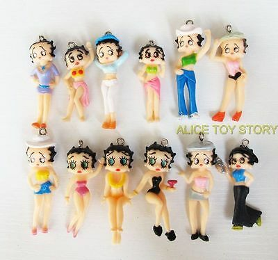 The Sexy Girl Betty Boop 3-4cm Anime Mini Cute Figures Charms Set of 12pcs US