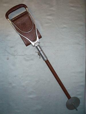 "VINTAGE LEATHER UDJUSTABLE SWAINE & BRIGG SHOOTING STICK .The ""SHOTOVER"""
