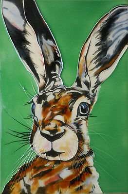 "HAND PAINTED CERAMIC WALL TILE ""MAD HARE DAY"" SAM FENNER WALL ART 8"" x 12"""