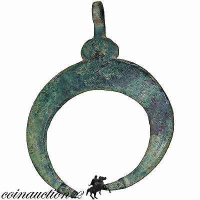 Scarce Massive Roman Or Viking Penannular Crescent Bronze Pendant With Dogs Head