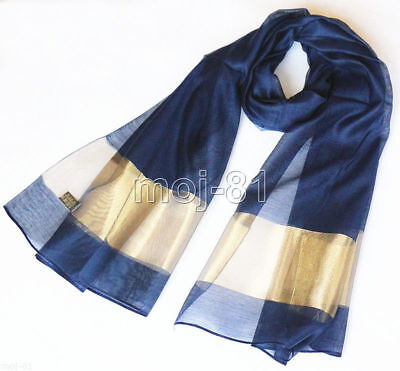 New Fashion Men's Navy Blue 100% Silk Solid Print Neck Scarf Long Soft Scarves