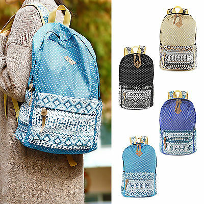 Women Girls Canvas Backpack Shoulder School Bag Travel Satchel Rucksack Handbag