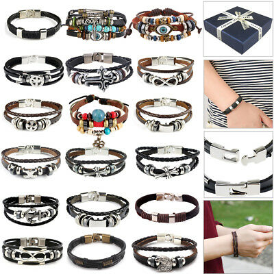 Valentine Gift Unisex Real Genuine Leather Braided Men Ladies Bracelet Wristband