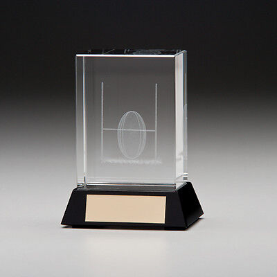 Conquest, 3D Rugby Crystal Trophy, Award 90mm, FREE Engraving (CR7221A)(TRD)