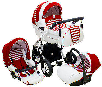 Pram stroller pushchair travel system RED DP-Star with option car seat Isofix