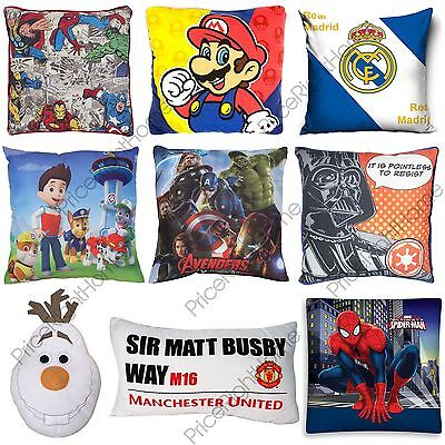 Disney Character + Football Boys Kids Cushions Bedroom Marvel Paw Patrol + More