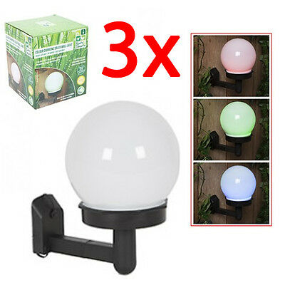 Set Of 3 Colour Changing Led Solar Power Garden Patio Light Wall Outdoor New
