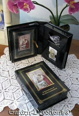 Beautiful 3pc Set BOY'S FIRST COMMUNION MISSAL BOOK - BROOCH - ROSARY Gift Boxed