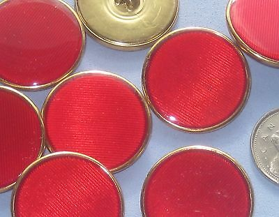 Striated RED under Acrylic surface METAL base fancy vtg new buttons 28.5mm 1&1/8