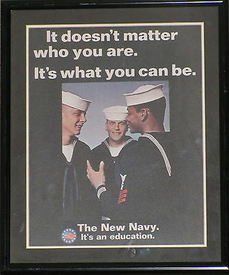 """US NAVY Framed Recruiting Poster THE NEW NAVY - IT'S AN EDUCATION  11"""" x 13"""""""